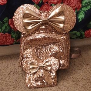 Disney rose gold sequin minnie mouse mini backpack